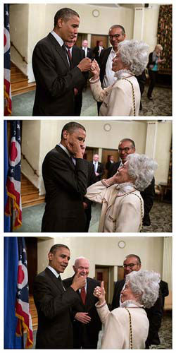"<div class=""meta ""><span class=""caption-text "">President Barack Obama and Annie Glenn, wife of former Senator John Glenn, greet each other following an event at The Ohio State University in Columbus, Ohio, Oct. 9, 2012. (Official White House Photo by Pete Souza) (Photo/The White House)</span></div>"