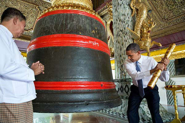"<div class=""meta ""><span class=""caption-text "">President Barack Obama rings a large bell during a tour of the Shwedagon Pagoda in Rangoon, Burma, Nov. 19, 2012. (Official White House Photo by Pete Souza) (Photo/The White House)</span></div>"
