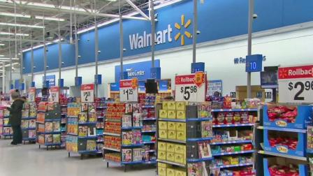 The inside of a Walmart store is seen.