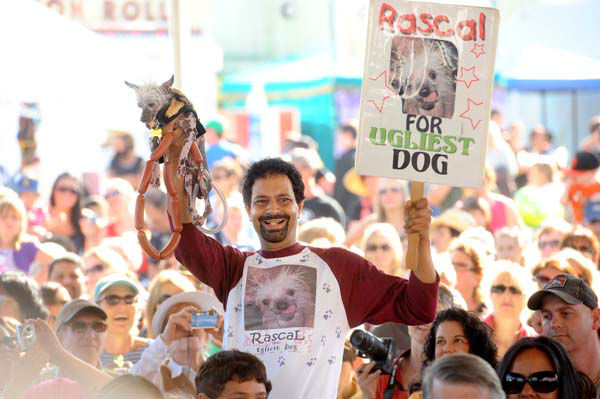 Dane Andrew campaigns Rascal in the 2011 World&#39;s Ugliest Dog Contest on Friday, June 24, 2011, in Petaluma, Calif. Rascal, an African Sand Dog who has won 14 ugly dog contests according to Andrew, did not take home top prize in this year&#39;s Sonoma-Marin Fair competition. &#40;AP Photo&#47;Noah Berger&#41; <span class=meta>(AP Photo&#47; Noah Berger)</span>