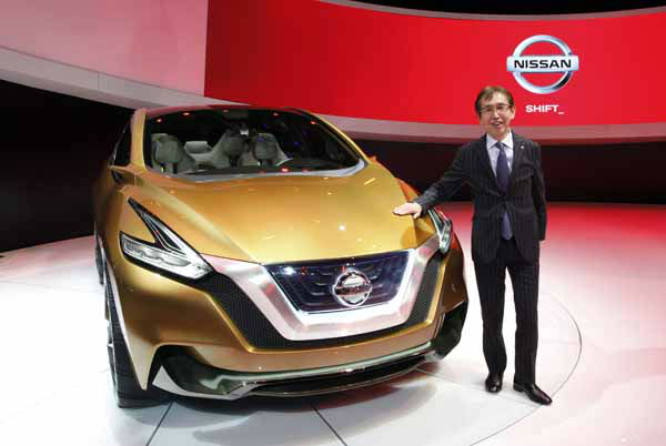 Nissan Design&#39;s Chief Creative Officer Shiro Nakamura stands with the Nissan Resonance at media previews for the North American International Auto Show in Detroit, Tuesday, Jan. 15, 2013.  &#40;AP Photo&#47;Paul Sancya&#41; <span class=meta>(AP Photo&#47; Paul Sancya)</span>