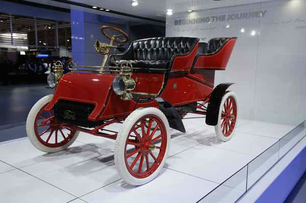 The oldest surviving Ford car, a 1903 Model A is displayed at the North American International Auto Show in Detroit, Monday, Jan. 14, 2013. The Ford Motor Company was created June 16, 1903 and car production started in July. This car is the third vehicle assembled on the first day of production. It was built at the Mack Avenue factory in Detroit and is owned by Ford Executive Chairman Bill Ford. &#40;AP Photo&#47;Carlos Osorio&#41; <span class=meta>(AP Photo&#47; Carlos Osorio)</span>