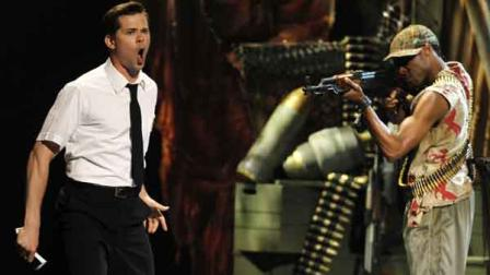Andrew Rannells, left, and the cast of The Book of Mormon perform during the 65th annual Tony Awards, Sunday, June 12, 2011 in New York.