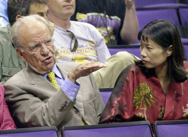 "<div class=""meta image-caption""><div class=""origin-logo origin-image ""><span></span></div><span class=""caption-text"">Media mogul Rupert Murdoch, left, is joined by wife Wendi Deng before Game 2 of the NBA Finals between the Los Angeles Lakers and the Philadelphia 76ers in Los Angeles, Friday, June 8, 2001. (AP Photo/Kevork Djansezian) (AP Photo/ KEVORK DJANSEZIAN)</span></div>"