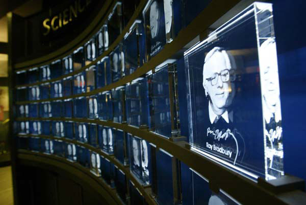 An image of science fiction author Ray Bradbury etched in glass sits on display in the Science Fiction Museum and Hall of Fame, Tuesday, June 8, 2004, in Seattle. The museum, created with &#36;20 million from Microsoft co-founder Paul Allen, opens June 18. &#40;AP Photo&#47;Ted S. Warren&#41; <span class=meta>(AP Photo&#47; TED S. WARREN)</span>