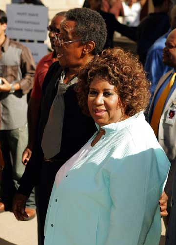 Singer Aretha Franklin poses with producer Don Cornelius at the 10th Annual Soul Train Lady of Soul Awards, Wednesday night, Sept. 7, 2005, in Pasadena, Calif.  <span class=meta>(AP Photo&#47;Mark J. Terrill)</span>
