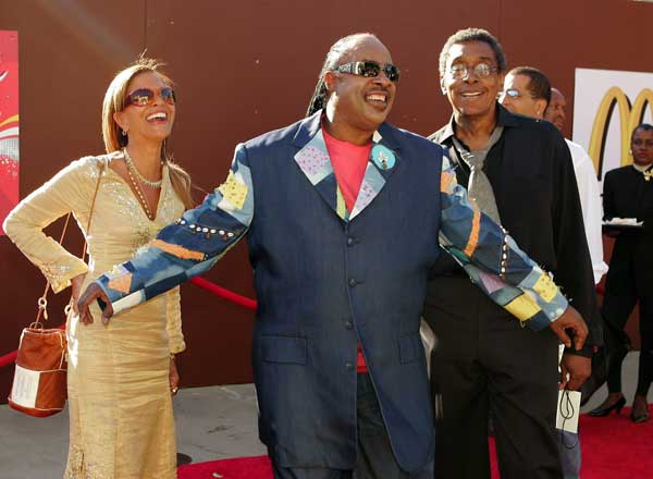 Singer Stevie Wonder, center, has some fun as he pushes Motown president Sylvia Rhone and producer Don Cornelius out of way at the 10th Annual Soul Train Lady of Soul Awards, Wednesday night, Sept. 7, 2005, in Pasadena, Calif.  <span class=meta>(AP Photo&#47;Mark J. Terrill)</span>