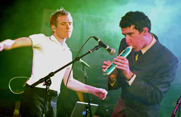 Scotland&#39;s Belle and Sebastian&#39;s Stevie Jackson, right, and Stuart Murdoch, perform a set during the South by Southwest Music Festival in Austin, Texas, late Wednesday, March 15, 2006.  &#40;AP Photo&#47;Jack Plunkett&#41; <span class=meta>(AP Photo&#47; JACK PLUNKETT)</span>