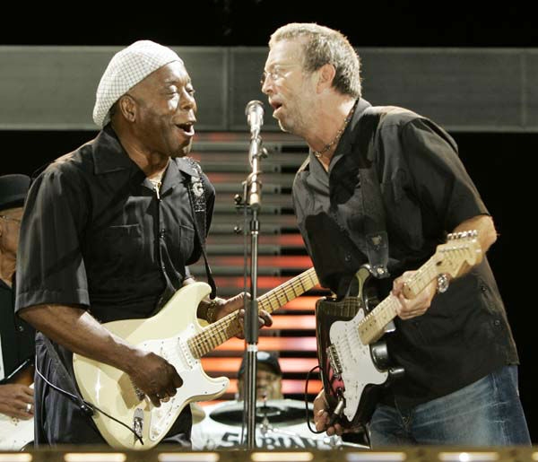 Blues guitar legend Buddy Guy, left,  performs with rock guitar legend Eric Clapton at the Crossroads Guitar Festival in Chicago, Saturday, July 28, 2007. &#40;AP Photo&#47;Charles Rex Arbogast&#41; <span class=meta>(AP Photo&#47; Charles Rex Arbogast)</span>
