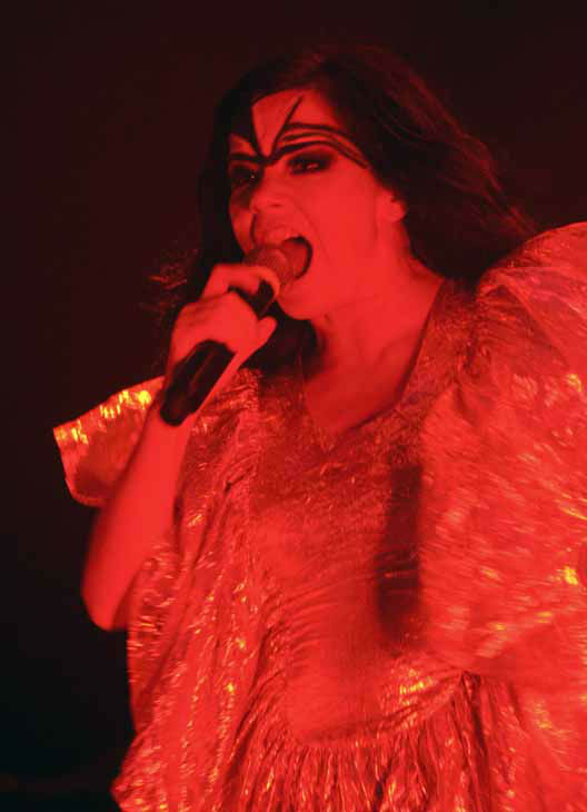 Icelandic singer Bjork performs at the Sydney Opera House in Sydney, Australia, Wednesday, Jan. 23, 2008. Bjork is performing at the 2008 Sydney Festival in a show featuring songs from her repertoire and her album, &#34;Volta.&#34;     &#40;AP Photo&#47;John Pryke&#41; <span class=meta>(AP Photo&#47; John Pryke)</span>