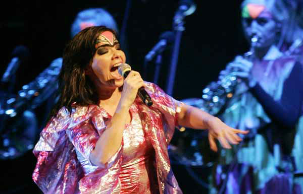 Icelandic singer Bjork performs during a concert in Jakarta, Indonesia, Tuesday, Feb. 12, 2008. &#40;AP Photo&#47;Achmad Ibrahim&#41; <span class=meta>(AP Photo&#47; ACHMAD IBRAHIM)</span>