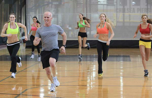 This photo taken Nov. 11, 2009 shows celebrity trainer David Kirsch, third from left, running with Allison Turner, far left, Alicia Hall, second from left,  Tika Ivezaj, third from right, Jamie Lee Darley, second from right, and  Kylie Bisutti, far right, during a workout session in the Angel Boot Camp, a model search for Victoria&#39;s Secret, New York.  &#40;AP Photo&#47;Bebeto Matthews&#41; <span class=meta>(AP Photo&#47; BEBETO MATTHEWS)</span>