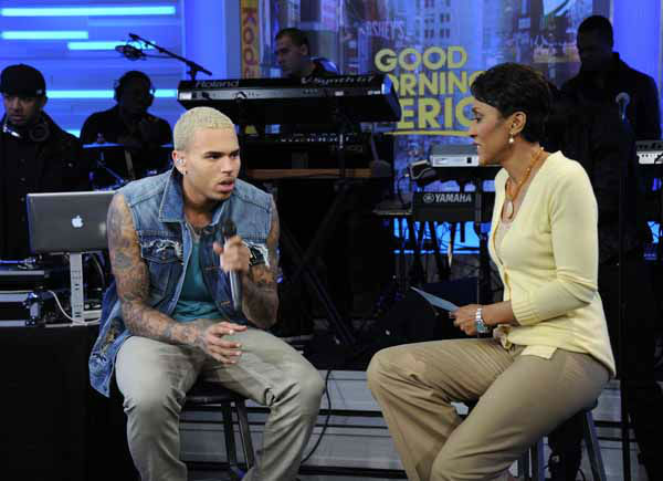 "<div class=""meta ""><span class=""caption-text "">FILE - In this March 22, 2011 publicity image released by ABC, singer Chris Brown, left, is interviewed by co-host Robin Roberts on the morning program ""Good Morning America,"" in New York. Brown was on ?GMA? Tuesday to promote his new album, ?F.A.M.E.,? released the same day. During his interview with Roberts, she asked him about the 2009 attack on his then-girlfriend. Brown later trashed his dressing room and broke a window with a chair.  (AP Photo/ABC, Ida Mae Astute) (AP Photo/ Ida Mae Astute)</span></div>"