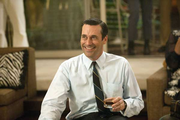 In this image released by AMC, Jon Hamm portrays advertising executive Don Draper in a scene from the fifth season premiere of &#34;Mad Men.&#34; AMC network says Sunday&#39;s premiere telecast drew 3.5 million viewers. This marks a 21 percent growth over season four&#39;s premiere. AMC said Monday that the cumulative audience for the night&#39;s two airings of the debut episode was 4.4 million viewers.  <span class=meta>(AP Photo&#47;AMC, Ron Jaffe)</span>
