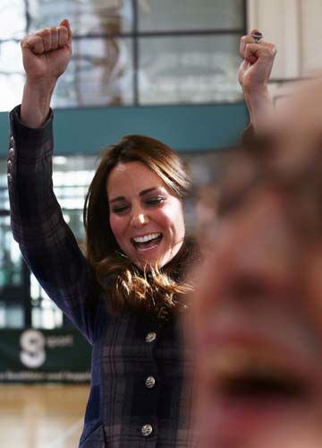 Kate, the Duchess of Cambridge, reacts as she plays basketball at the Donald Dewer Leisure Centre at the Emirates Arena,  in Glasgow, Scotland, Thursday, April 4, 2013.  &#40;AP Photo&#47; David Cheskin, Pool&#41; <span class=meta>(AP Photo&#47; David Cheskin)</span>