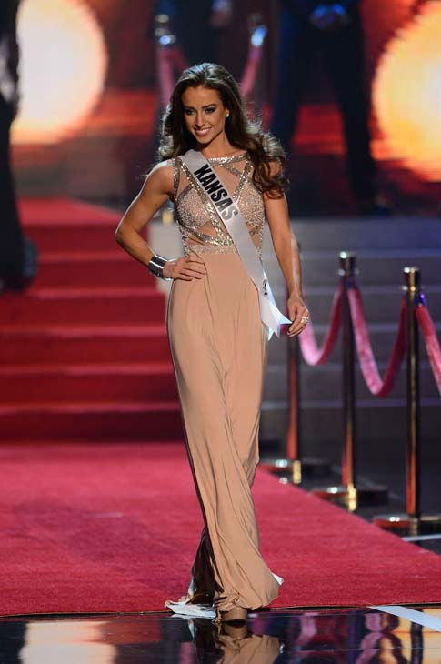 Miss Kansas Staci Klinginsmith walks onstage during the Miss USA 2013 pageant, Sunday, June 16, 2013, in Las Vegas. &#40;AP Photo&#47;Jeff Bottari&#41; <span class=meta>(AP Photo&#47; Jeff Bottari)</span>