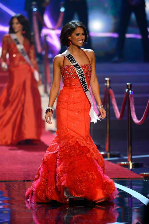 Miss New Hampshire Amber Faucher walks onstage during the Miss USA 2013 pageant, Sunday, June 16, 2013, in Las Vegas. &#40;AP Photo&#47;Jeff Bottari&#41; <span class=meta>(AP Photo&#47; Jeff Bottari)</span>
