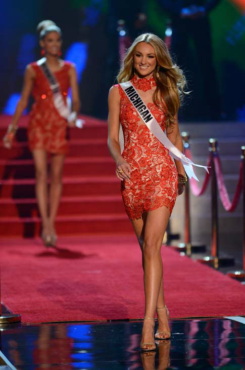 "<div class=""meta image-caption""><div class=""origin-logo origin-image ""><span></span></div><span class=""caption-text"">Miss Michigan Jaclyn Schultz walks onstage during the Miss USA 2013 pageant, Sunday, June 16, 2013, in Las Vegas. (AP Photo/Jeff Bottari) (AP Photo/ Jeff Bottari)</span></div>"