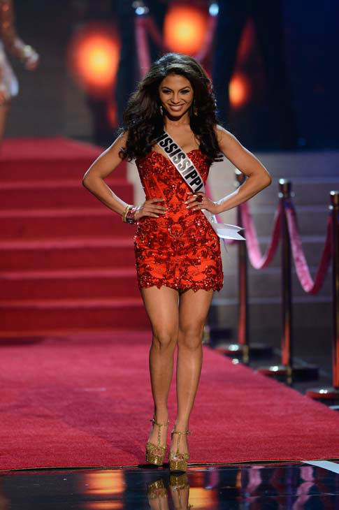 Miss Mississippi Paromita Mitra walks onstage during the Miss USA 2013 pageant, Sunday, June 16, 2013, in Las Vegas. &#40;AP Photo&#47;Jeff Bottari&#41; <span class=meta>(AP Photo&#47; Jeff Bottari)</span>