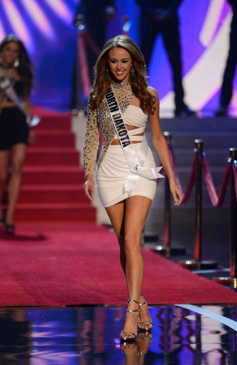 Miss North Dakota Stephanie Erickson walks onstage during the Miss USA 2013 pageant, Sunday, June 16, 2013, in Las Vegas. &#40;AP Photo&#47;Jeff Bottari&#41; <span class=meta>(AP Photo&#47; Jeff Bottari)</span>