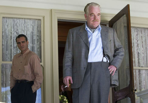FILE - This undated file handout film image released by The Weinstein Company shows Joaquin Phoenix, left, and Philip Seymour Hoffman in a scene from &#34;The Master.&#34; Hoffman was nominated Thursday, Dec. 13, 2012 for a Golden Globe for best supporting actor for his role in film. The 70th annual Golden Globe Awards will be held on Jan. 13.   &#40;AP Photo&#47;The Weinstein Company, File&#41; <span class=meta>(AP Photo&#47; Uncredited)</span>
