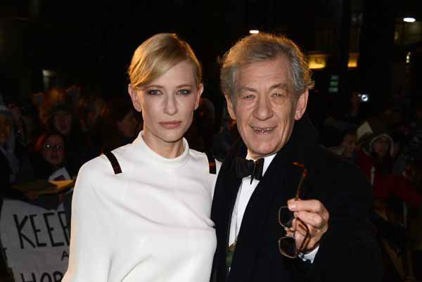 Actors Cate Blanchett and Ian McKellan arrive at the UK premiere of &#34;The Hobbit: An Unexpected Journey&#34; at The Odeon Leicester Square, London on Wednesday, Dec. 12, 2012. &#40;Photo by Jon Furniss&#47;Invision&#47;AP&#41; <span class=meta>(Photo&#47;Jon Furniss)</span>