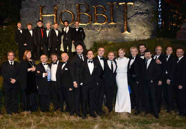 "<div class=""meta ""><span class=""caption-text "">The cast of the movie including, front row from left, Sylvester McCoy, Peter Jackson, John Callen, Grahham McTavish, Adam Brown, James Nesbitt, Martin Freeman, Cate Blanchett, Ian McKellan, Andy Serkis, Christopher Lee and top row from left, Jes Brophy, Stephen Hunter, Peter Hambleton, Dean O'Gorman, Aidan Turner and William Kircher seen at the UK premiere of The Hobbit: An Unexpected Journey at The Odeon Leicester Square on Wednesday, Dec. 12, 2012, in London. (Photo by Jon Furniss/Invision/AP) (Photo/Jon Furniss)</span></div>"