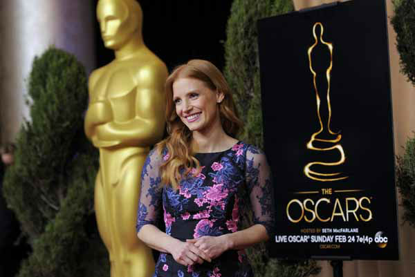 "<div class=""meta ""><span class=""caption-text "">Jessica Chastain, nominated for best actress in a leading role for ""Zero Dark Thirty,"" arrives at the 85th Academy Awards Nominees Luncheon at the Beverly Hilton Hotel on Monday, Feb. 4, 2013, in Beverly Hills, Calif. (Photo by Chris Pizzello/Invision/AP) (Photo/Chris Pizzello)</span></div>"