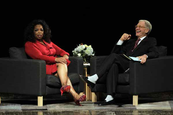 Ball State University alumnus David Letterman, right, host of CBS&#39;s &#34;Late Show,&#34; interviews  Oprah Winfrey at Ball State University in Muncie, Ind., Monday, Nov. 26, 2012. The conversation is part of the David Letterman Distinguished Professional Lecture and Workshop Series. &#40;AP Photo&#47;Michael Conroy&#41; <span class=meta>(AP Photo&#47; Michael Conroy)</span>