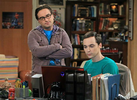 "This image released by CBS shows Johnny Galecki, left, and Jim Parsons in a scene from ""The Big Bang Theory."" The series was nominated for a Golden Globe for best musical or comedy series on Thursday, Dec. 13, 2012. The 70th annual Golden Globe Awards will be held on Jan. 13. (AP Photo/CBS, Sonja Flemming)"