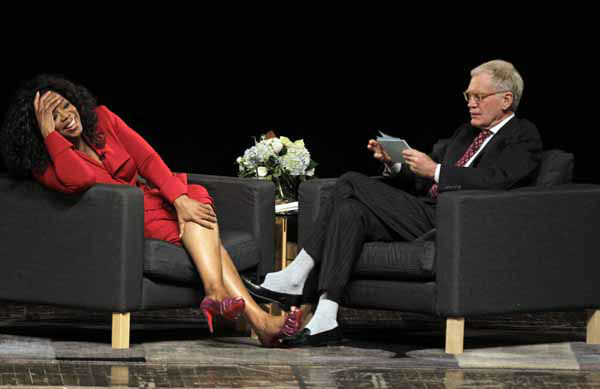 "<div class=""meta ""><span class=""caption-text "">Oprah Winfrey reacts to a question from Ball State University alumnus David Letterman, right, host of CBS's ""Late Show,"" during an interview at Ball State University in Muncie, Ind., Monday, Nov. 26, 2012. The conversation is part of the David Letterman Distinguished Professional Lecture and Workshop Series. (AP Photo/Michael Conroy) (AP Photo/ Michael Conroy)</span></div>"