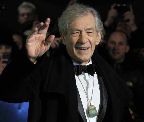 Actor Ian McKellen arrives at the UK premiere of &#34;The Hobbit: An Unexpected Journey&#34; at The Odeon Leicester Square, London on Wednesday, Dec. 12, 2012.  &#40;Photo by Joel Ryan&#47;Invision&#47;AP&#41; <span class=meta>(Photo&#47;Joel Ryan)</span>