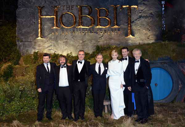 From left, Andy Serkis, Peter Jackson, James Nesbitt, Martin Freeman, Cate Blanchett, Richard Armitage and Ian McKellan at the UK premiere of &#34;The Hobbit: An Unexpected Journey&#34; at The Odeon Leicester Square,London on Wednesday, Dec. 12, 2012. &#40;Photo by Jon Furniss&#47;Invision&#47;AP&#41; <span class=meta>(Photo&#47;Jon Furniss)</span>
