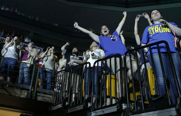"<div class=""meta ""><span class=""caption-text "">Concert goers react during the Boston Strong Concert: An Evening of Support and Celebration at the TD Garden on Thursday, May 30, 2013 in Boston. (Photo by Bizuayehu Tesfaye/Invision/AP) (AP Photo/ Bizuayehu Tesfaye)</span></div>"