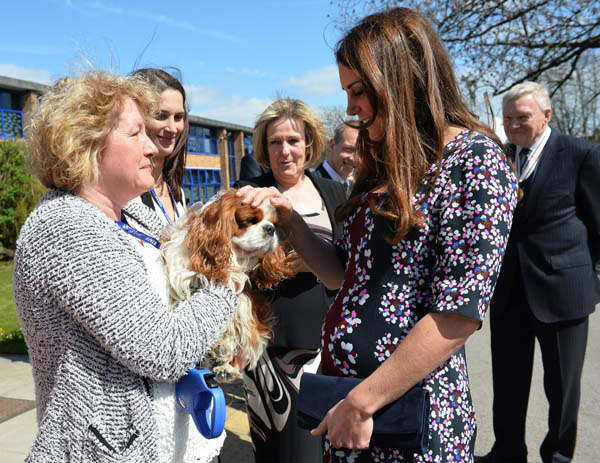 The Duchess of Cambridge strokes a dog as she arrives at The Willows Primary School, Wythenshawe, Manchester to launch a school counseling programme, Tuesday April 23, 2013. &#40;AP Photo&#47;Paul Ellis, Pool&#41; <span class=meta>(AP Photo&#47; Paul Ellis)</span>