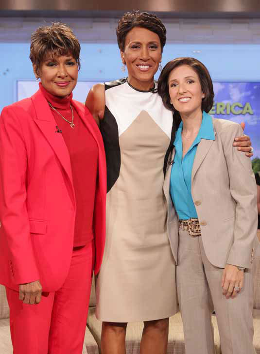 This image released by ABC shows &#34;Good Morning America&#34; co-host Robin Roberts, center, poses with her sister Sally-Ann Roberts, left, and Dr. Gail Roboz on the popular morning show on Thursday, Aug. 30, 2012 in New York. Roberts has said goodbye to &#34;Good Morning America,&#34; but only for a while. The &#34;GMA&#34; anchor made her final appearance Thursday before going on medical leave for a bone marrow transplant. Roberts&#39; departure was first planned for Friday, but she chose to exit a day early to visit her ailing mother in Mississippi. In July she first disclosed that she has MDS, a blood and bone marrow disease. She will be hospitalized next week to prepare for the transplant. The donor will be her older sister, Sally-Ann Roberts. Roboz, who is helping Robin prepare her for her bone marrow transplant, appeared on the program to discuss the medical road ahead. In the coming weeks, Dr. Roboz will help monitor Robin?s health and progress.  &#40;AP Photo&#47;ABC, Fred Lee&#41; <span class=meta>(AP Photo&#47; Fred Lee)</span>