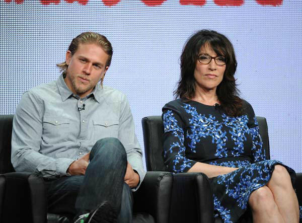 From left, actors Charlie Hunnam and Katey Sagal participate in the &#34;Sons of Anarchy&#34; panel at the FX 2013 Summer TCA press tour at the Beverly Hilton Hotel on Friday, August 2, 2013 in Beverly Hills, Calif. &#40;Photo by Frank Micelotta&#47;Invision for FX&#47;AP Images&#41; <span class=meta>(Photo&#47;Frank Micelotta)</span>