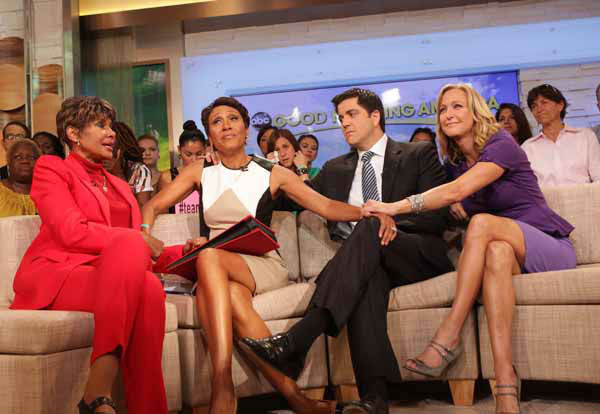 "<div class=""meta ""><span class=""caption-text "">This image released by ABC shows ""Good Morning America"" co-host Robin Roberts, second left, with her sister Sally-Ann Roberts, left, and co-hosts Josh Elliott and Lara Spencer, right, on the popular morning show on Thursday, Aug. 30, 2012 in New York. Roberts has said goodbye to ""Good Morning America,"" but only for a while. The ""GMA"" anchor made her final appearance Thursday before going on medical leave for a bone marrow transplant. Roberts' departure was first planned for Friday, but she chose to exit a day early to visit her ailing mother in Mississippi. In July she first disclosed that she has MDS, a blood and bone marrow disease. She will be hospitalized next week to prepare for the transplant. The donor will be her older sister, Sally-Ann Roberts. (AP Photo/ABC, Fred Lee) (AP Photo/ Fred Lee)</span></div>"