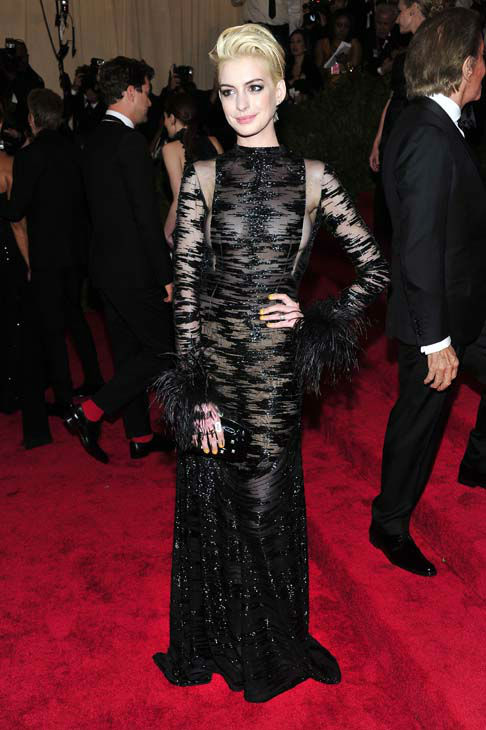 "<div class=""meta ""><span class=""caption-text "">Anne Hathaway attends The Metropolitan Museum of Art's Costume Institute benefit celebrating ""PUNK: Chaos to Couture"" on Monday May 6, 2013 in New York. (Photo by Charles Sykes/Invision/AP) (AP Photo/ Charles Sykes)</span></div>"