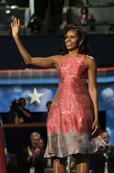 "<div class=""meta ""><span class=""caption-text "">First Lady Michelle Obama waves to delegates at the Democratic National Convention in Charlotte, N.C., on Tuesday, Sept. 4, 2012. (AP Photo/Charles Dharapak) (AP Photo/ Charles Dharapak)</span></div>"