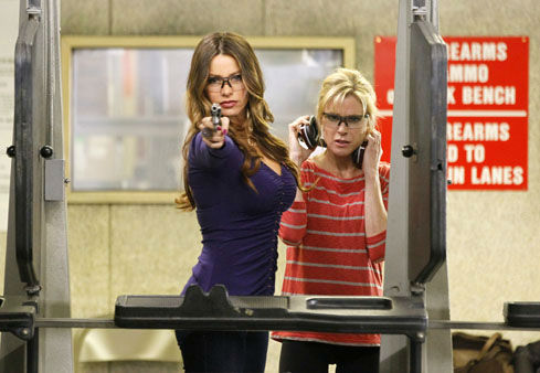 In this image released by ABC, Sofia Vergara, left, and Julie Bowen are shown in a scene from the comedy series &#34;Modern Family.&#34;   The program was nominated Thursday, Dec. 13, 2012 for a Golden Globe award for best comedy series. Vergara was also nominated for best supporting actress in a comedy series. The 70th annual Golden Globe Awards will be held on Jan. 13. &#40;AP Photo&#47;ABC, Peter Stone&#41; <span class=meta>(AP Photo&#47; Peter &#34;Hopper&#34; Stone)</span>