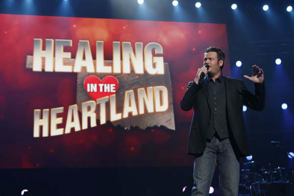 "<div class=""meta image-caption""><div class=""origin-logo origin-image ""><span></span></div><span class=""caption-text"">This image released by NBC Universal shows country singer Blake Shelton during the Healing in the Heartland: Relief Benefit Concert at the Chesapeake Energy Arena in Oklahoma City, Okla., Wednesday, May 29,2013. Funds raised by the benefit will go to the United Way of Central Oklahoma, for recovery efforts for those affected by the May 20 tornado. (AP Photo/NBC, Trae Patton) (AP Photo/ Trae Patton)</span></div>"
