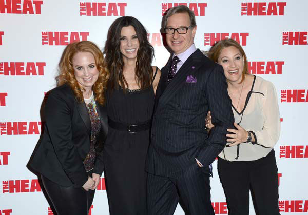 Jessica Chaffin, Sandra Bullock, Paul Feig and Jamie Denbo are seen at the Gala Screening of The Heat at the Curzon Mayfair in London on Thursday, June. 13, 2013. &#40;Photo by Jon Furniss&#47;Invision&#47;AP&#41; <span class=meta>(Photo&#47;Jon Furniss)</span>