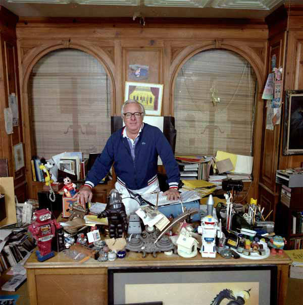 Ray Bradbury, although one of America&#39;s most popular and prolific storytellers, has never had his own television series.  He has now reached the home screen in his own series, &#34;The Ray Bradbury Theater,&#34;  on Home Box Office.  He&#39;s shown in his Beverly Hills office in February 1986, surrounded by an unlimited supply of toys and treasures. &#40;AP Photo&#47;Doug Pizac&#41; <span class=meta>(AP Photo&#47; DOUG PIZAC)</span>