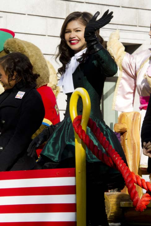 Zendaya Coleman rides a float in the Macy's Thanksgiving Day Parade in New York, Thursday, Nov. 24, 2011. (AP Photo/Charles Sykes)
