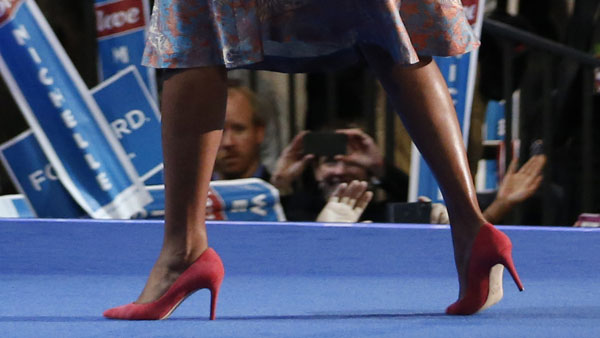 First lady Michelle Obama wore pink pumps from J.Crew during her speech at the 2012 DNC in Charlotte.