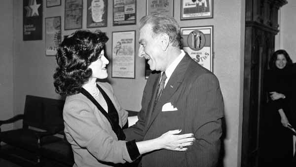 Luci Johnson, daughter of President Lyndon Johnson, left, greets Jack Klugman after the actors opening night in a new play at the John F. Kennedy Center, Thursday, Feb. 2, 1984, Washington, D.C. Lyndon is a one-man show about the late President. (AP Photo/Ron Edmonds)
