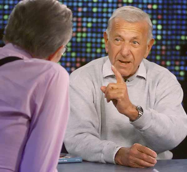 In this photo provided by CNN, actor Jack Klugman, right, answers a question as he is interviewed by talk show host Larry King, left, during a taping of the CNN program 'Larry King Live, ' Oct. 13, 2005, at CNN studios in Los Angeles. Klugman discussed his new book 'Tony and Me' which he self-published, about his work with friend and late co-star actor Tony Randall in the their careers and television series 'The Odd Couple,' in the interview set for telecast Saturday, Oct. 29, 2005, on CNN. (AP Photo/CNN, Rose M. Prouser)