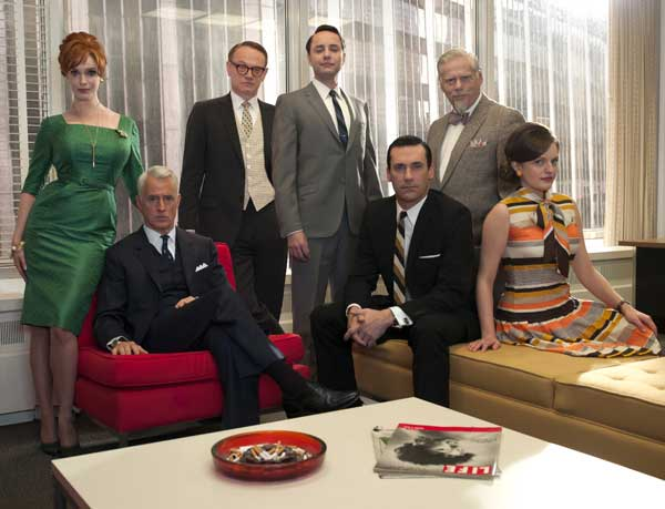 "<div class=""meta ""><span class=""caption-text "">In this undated image released by AMC, the cast of ""Mad Men,"" from left, Christina Hendricks, John Slattery, Jared Harris, Vincent Kartheiser, Jon Hamm, Robert Morse and Elisabeth Moss are shown. The fifth season the stylized AMC drama about the men and women who work in Madison Avenue advertising in the 1960s, premieres March 25, 2012 at 9 p.m. EST on AMC.  (AP Photo/AMC, Frank Ockenfels)</span></div>"