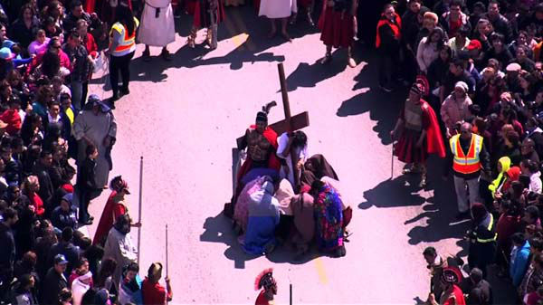 "<div class=""meta ""><span class=""caption-text "">Good Friday was marked in Chicago?s Pilsen neighborhood with a procession and re-enactment of the Stations of the Cross.  (WLS Photo)</span></div>"